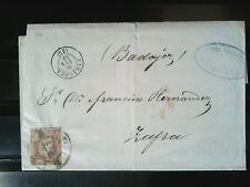 España Envuelta circulada Zaragoza - Zafra 1859 - Rueda 15 edifil 48 - Preciosa