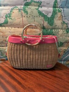 LILLY PULITZER LARGE Rattan Wicker Straw Basket Tote Purse Bag Patchwork Fabric