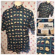 Vintage Reyn Spooner Mens L Hawaiian Sword Fish Tiki Button Front Shirt A2811