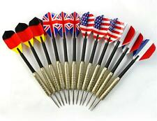 12 pcs Copper Plated Steel Needle Tip Dart Darts With National Flag Flights