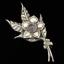 Vintage Mexican Silver Amethyst Floral Brooch Pin Taxco