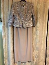 R&M RICHARDS COLLECTION WOMENS IVORY TWO PIECE DRESS AND JACKET FORMAL SZ 8
