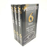 Lot of 3 Memorex 6 Hours Blank Recordable VHS Video Tape SEALED NEW T-120