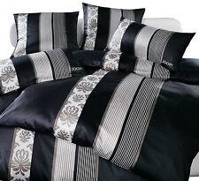 Joop Mako Satin Bettwäsche Ornament Stripes 4022/9 schwarz 135x200 Cm