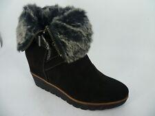 Tamaris Wedge Heel Fur Cuff Ankle Boots UK 5 EU 38 LN092 LL 02