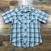 Wrangler Wrancher Pearl Snap Cowboy Men's Size Large Plaid Sleeve Western Shirt
