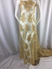 Wholesale fabric / By Roll 20 Yard / Lace Fabric Embroidered With Sequins Gold