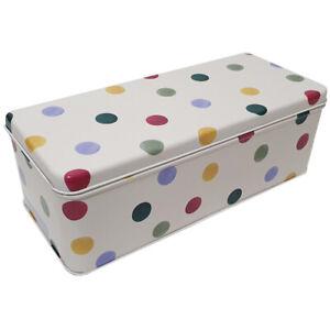 Emma Bridgewater Storage Tin Polka Dot Design Long Deep Rectangular Shaped Box