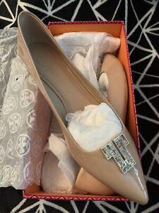 NIB $295+ Tory Burch DECO T Crystal Logo Flat Shoe Patent Leather Beige Nude 9.5