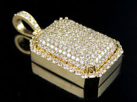 Men's 14K Yellow Gold Solid Dome Pillow Real VS Diamond Pendant 3.5 ct 1.3""