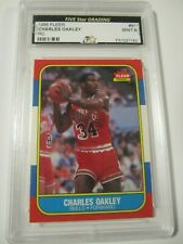 1986 Fleer Premier #81 CHARLES OAKLEY Chicago Bulls Rookie Card Graded Mint 9