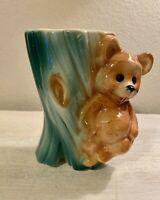 Vintage Royal Copley Teddy Bear on a Tree Stump Planter 5.5""