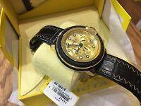 24442 Invicta Bolt Mens 52mm Quartz Chronograph Gold Dial Leather Strap Watch