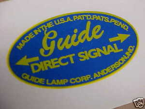 GUIDE Turn Signal Water Slide Decal 1940s - 1960s