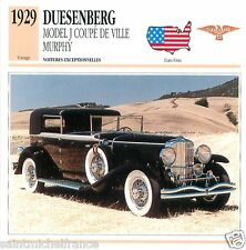 DUESENBERG MODEL J COUPE DE VILLE MURPHY 1929 CAR USA ETATS-UNIS CARD FICHE