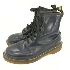 Dr. Martens Ankle Boots UK 4-5 Navy Blue Leather 8 Eye Lace Up Casual 022199