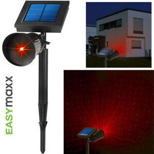 EASYmaxx Solar-Laserstrahler Außenstrahler Lichtpunkte rot Effekt Lampe Erdspieß