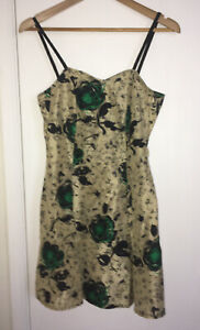 90's Vintage retro 100% silk short dress gold green floral strappy A-line size S
