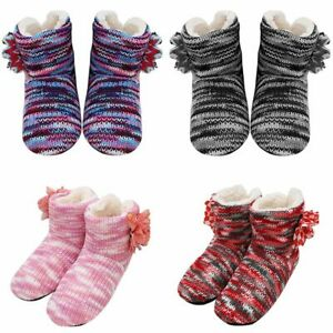 Women Winter Plush Lined Slippers Socks Knitted Ladies Girls Thick Boots Socks