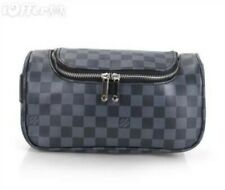 Unisex leather lv Brown Checkered Small Makeup Bag Cosmetics Bag