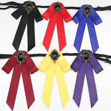 Woman Bowtie Pin Lapel Ribbon Solid Color Butterfly Bowknot Polyester Cravat New