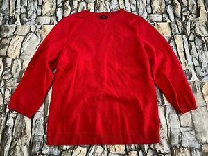 TALBOTS WOMEN SIZE MEDIUM PETITE PURE CASHMERE RED PULLOVER SWEATER EUC