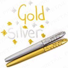 METALLIC Silver & Gold PERMANENT MARKER Pen Art/Stationery/Autograph Bullet Tip