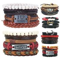 Handmade Men Women Genuine Leather Bracelet Braided Bangle Wristband Set Gift