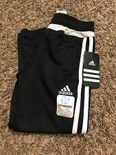 Adidas Kids Black Athletic Pants White Stripe Size 5 NWT