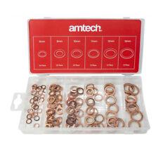 110pc Copper Washer Assortment Set Solid Sump Plug Storage Box Amtech S6195