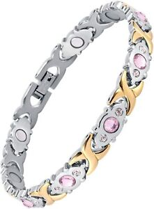 Women's Stainless Steel Magnetic Health Power Therapy Bracelet Chain Link...