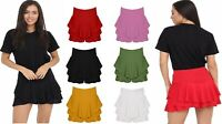 Womens Ladies Layered Ruffled Frill Detail Skorts High Waisted Mini Shorts Skirt