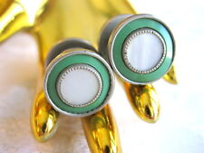 MOTHER OF PEARL CENTER GREEN CELLULOID ROUND ART DECO 1920'S SNAP TYPE CUFFLINKS