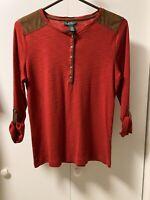 LRL Ralph Lauren Red Cotton Knit Henley Top Faux Leather Trim Blouse Size L