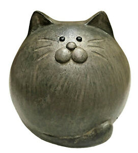 Ceramic Country Grey Round Cat Shelf Sitter Indoor Garden Ornament Sculpture