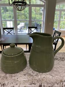 Longaberger Sugar Bowl and Creamer Pitcher Sage Green Vintage