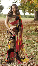 Roop Kashish Indian Bollywood Georgette Printed Saree with Stone border & Blouse