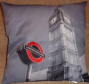 """London Underground Iconic 17""""x17"""" FIlled Cushion.100% polyester machine washable"""