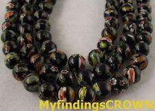 2 Strands Black Millefiori glass beads ROUND 8mm W713