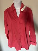 WORTHINGTON CORAL BUTTON UP BLOUSE SIZE 12 NEW NWT