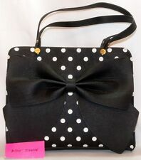 Betsey Johnson Faux Leather Large Bow Polka Dot Satchel NWT