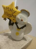 "Vintage light Up Ceramic Snowman 13"" Tall Holding Christmas Star Holy NIght"