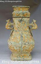 Bronze Gilt Ware Vessels Dragon Phoenix Beast Vase Pot Bottle Kattle Statue