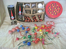 "79 VTG 1/2""-1"" GLASS & SATIN CHRISTMAS BALLS CANDLE HOLDERS TIN ORNAMENTS CRAFTS"
