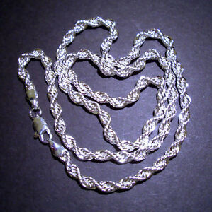 Silver Rope Chain Necklace 18""