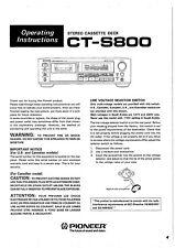 Bedienungsanleitung-Operating Instructions für Pioneer CT-S800