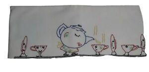 Flour Sack Tea Towel W Embroidered Tea Pot & Dishes