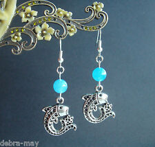 Pretty Aquamarine Gemstone Fish Charm Dangly Earrings ~ Pisces