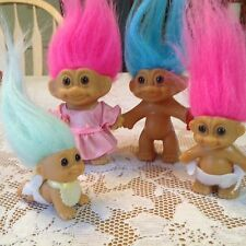 """FOUR RUSS TROLL DOLLS FAMILY, CRAWLING BABY, BABY IN DIAPERS & TWO 3"""" Siblings"""