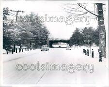 1961 Vintage Autos on Snow Covered Merritt Parkway Connecticut Press Photo